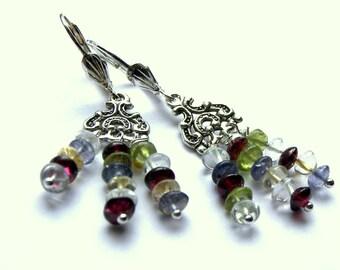 Multi Gemstone Chandelier Earrings, Beaded Jewelry, Gemstone Jewelry, Popular Jewelry, Gift Ideas, Jewelry for Women, Hippie Boho Tribal