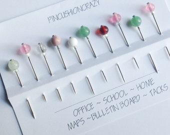 Heavy Duty Home & Office Pins - Tack Board Pins - Bulletin Board Pins - Map Pins - Set of 10