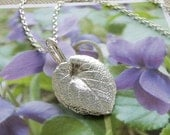 Reserved Listing for Justicecat - Sweet Violet Leaf Jewelry - Pure Silver Real Leaf Pendant, Herb Jewelry, Botanical Jewelry