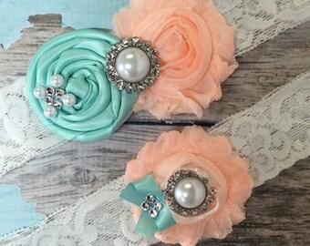 Wedding garter / AQUA BLUE / Peach Garter SET / wedding garters / bridal garter/ lace garter / vintage lace