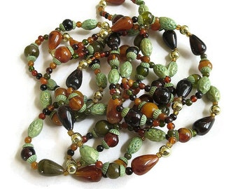 Vintage Mixed Multi Color Plastic Beads Beaded Necklace – Gypsy or Hippie Style