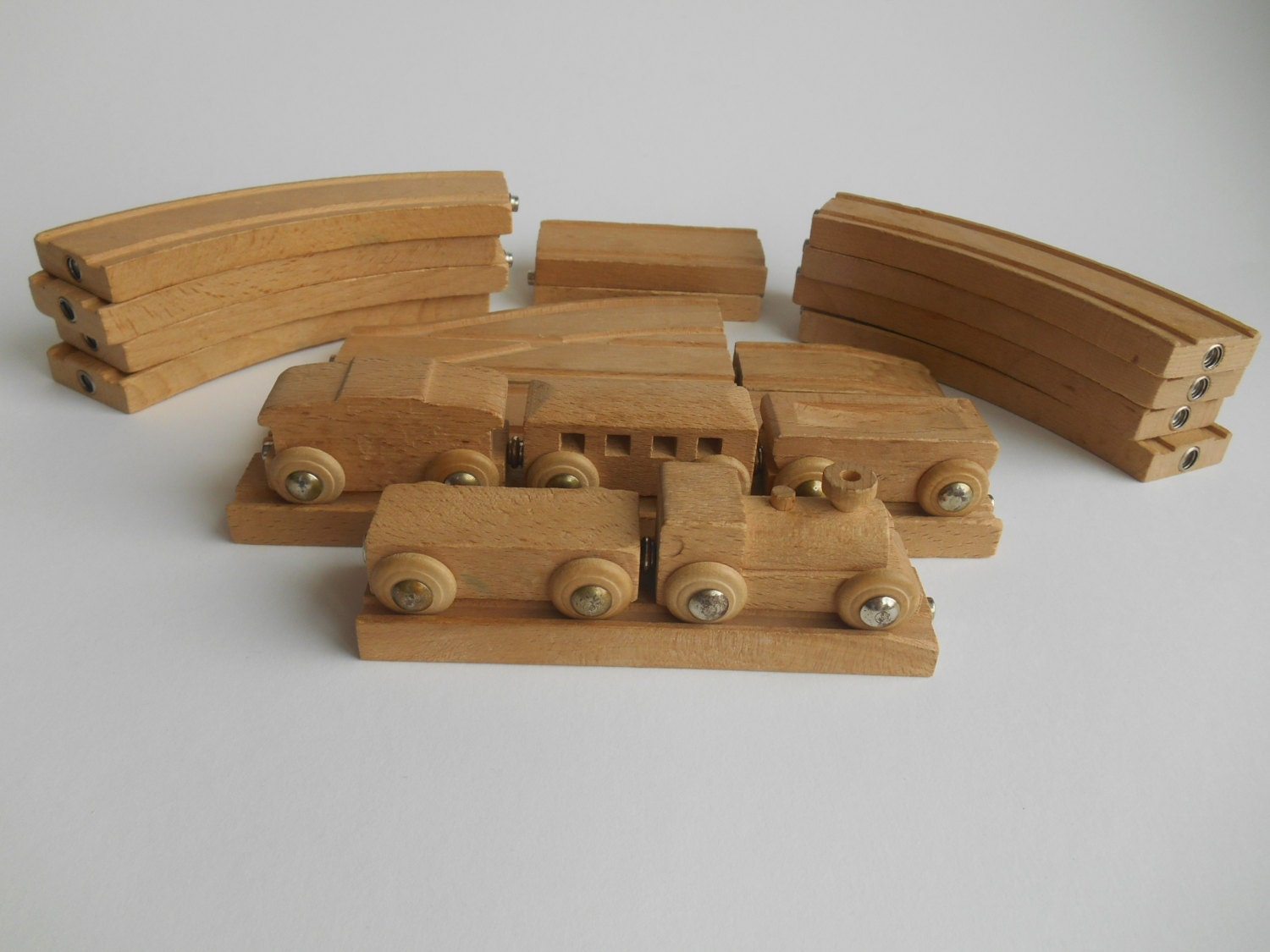 Vintage Wooden Train set by MidwoodVintage on Etsy