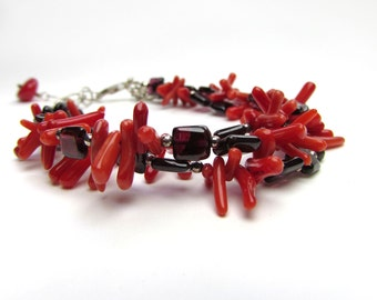 Rhondolite Garnet and Coral Multi Strand Sterling Silver Adjustable Bracelet - Threes a crowd