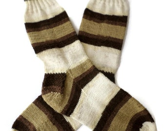 Socks - Hand Knit Mens Striped Acrylic Socks - Size 9-10