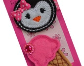 Hair Clip Set with Felt Embroidered Penguin and Ice Cream Cone
