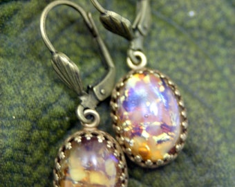 Fractured Honey Topaz Fire Opal Antique Brass Leverback Earrings Dragon's Breathe