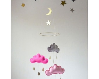 """Star and Cloud mobile for nursery """"ESTRELLA""""by The Butter Flying-Rain Cloud Mobile Nursery Children Decor"""