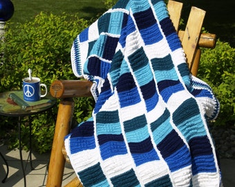 Blue Turquoise White Afghan, Crocheted, Cable, Full, Extended Twin, Blanket, Teal, Navy, Beach House, Graduation, Dorm Rooms, Ready To Ship