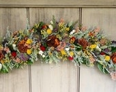 """Large 30"""" dried flower arch or swag made with all natural garden flowers, made to order in your colors."""