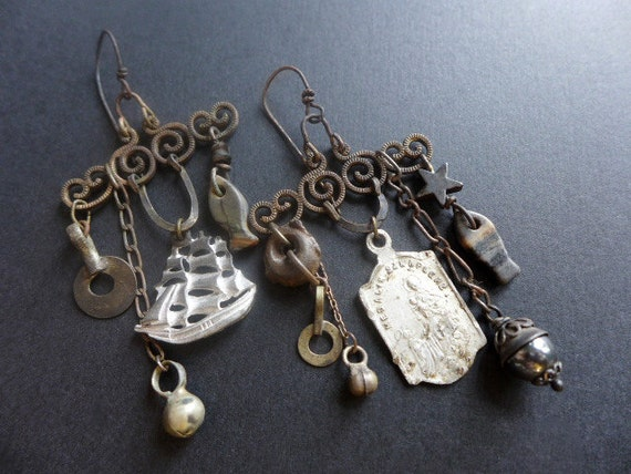 I Crossed an Ocean of Time for You. Silver grey rustic chandelier assemblage earrings.