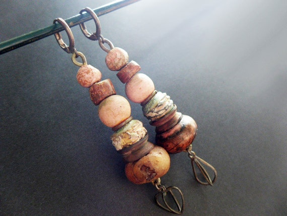 Exulansis. Stacked salmon earrings with rustic art beads. Victorian tribal assemblage.