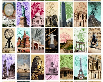 landmarks Wonders of the world domino collage Ancient Architecture digital download Collage sheet 1x2 inch graphics images printables