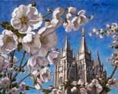Salt Lake Temple in Blossom                     5 x 7 Print