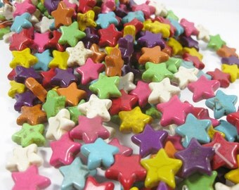 Multi Colored Howlite Star Beads set of 8
