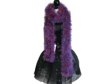 Red and Purple Fun Fur Scarf