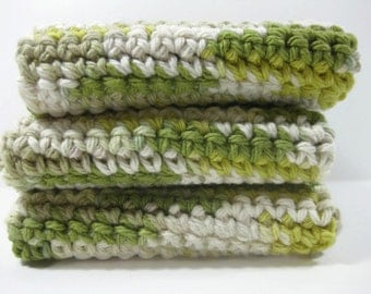 Guacamole Crochet Cotton Dish Cloth Wash Cloth Set of Three