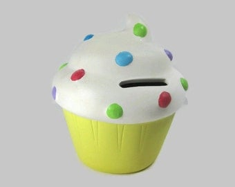 Hand Painted Polka Dot Cupcake Piggy Bank Ready to be Personalized