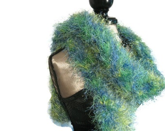 "Blue Green and Yellow Fun Fur Scarf ""Sea Breeze"""