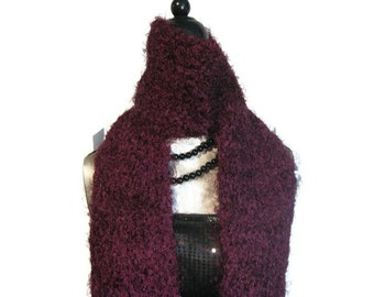 """Fuzzy Knitted Scarf """"Alluring in Burgundy"""""""