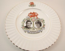 Vintage Souvenir Plate Prince Charles and Princess Diana Royal Wedding Plate July 29 1981 Queen Anne Bone China Made in England