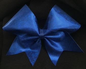 Shattered Glass Hologram Royal Blue Cheer Hair Bow