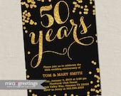 Gold Foil 50th Anniversary Invitation -  Gold Golden Sparkle Vintage Anniversary Party Invite - Fiftieth (Printable Digital File)