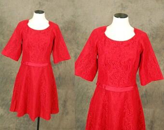 Clearance Sale vintage 50s Cocktail Dress - 1950s Red Lace Dress - Party Dress Sz L