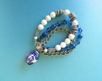 Asian inspired three-strand bracelet, blue and white, agate, porcelain, OOAK