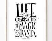 Magic and Pasta Print (8x10 inch on A4 in Black and White) Federico Fellini quote, Food quote, Cooking quote, Kitchen, Home Decor