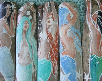 BEACH SHOP Supply - Five Hand Painted Mermaids on Drift wood Bamboo- Mixed Colors of aqua blue and green- pink