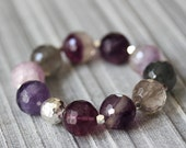 Fluorite Statement Bracelet, Karen Hill Tribe Silver, Purple Stacking Bracelet, Colorful Beaded Bracelet, Green Boho Bracelet Bohemian, Bold