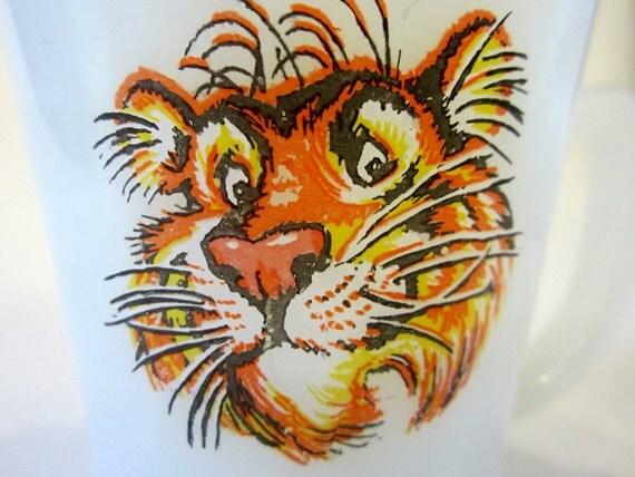 Exxon Esso USA Milk Glass Coffee Mug White Tiger Logo Classic