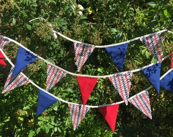Sale Bunting / Garland / Fabric Banner - Long Patriotic Bunting 19 flags 4m with ties, Independence Day Bunting