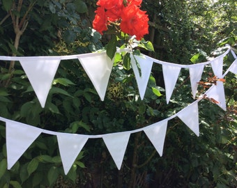 Wedding Bunting / Garland / Fabric Banner - 22 Flags, 17ft long, 5m White Wedding Bunting, Birthday Parties.