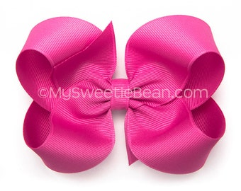 "Raspberry Rose Hair Bow, 4 inch Hair Bow, 4"" Twisted Boutique Bow, Basic Hairbow, Baby Girl Toddler Hairbows, Bright Pink Bow Raspberry Pink"