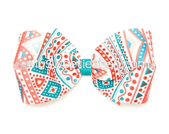 """Aztec Hair Bow, 5 inch Hair Bow, Geometric Boutique Bow, Coral, Turquoise Tribal Print Bow, Aqua, Persimmon, 5"""" Bow, Women, Girls, Mayan Bow"""