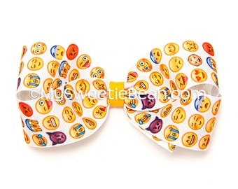 "Emoji Hair Bow, 5 inch Hair Bow, Printed Boutique Bow, Emoji Bow for Girls, Teens, Women, Texting Bow, Smiley Faces Bow, 5"" Bow, Emoticons"