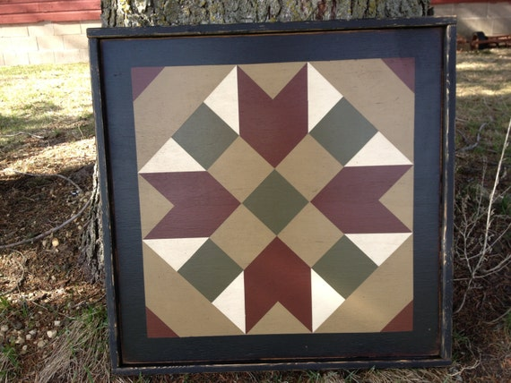 Primitive Hand Painted Barn Quilt Small Frame 2 X By