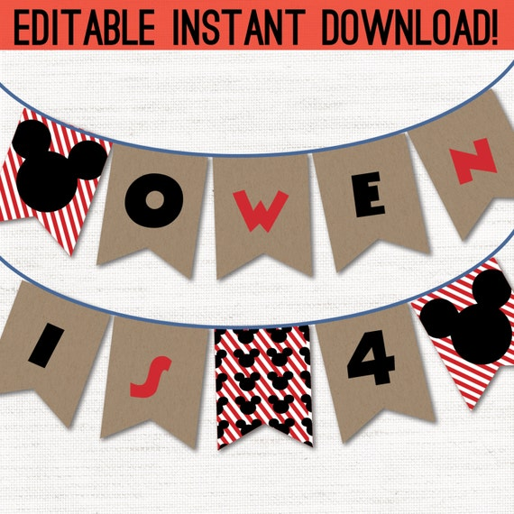 Instant Download - Customizable DIY Printable Mickey Mouse ...