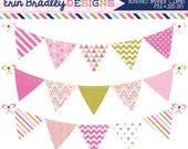 80% OFF SALE Pinks and Gold Bunting Clipart Graphics with Polka Dots Triangle Chevron and Striped Patterns Personal & Comercial Use