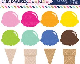 50% OFF SALE Ice Cream Clipart Summer Clip Art Digital Graphics Ice Cream Cones Mix and Match Set