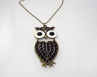 1970's Owl Necklace, Enamel Jewelry, Figural Jewelry, 1970's Jewelry, Large Bold Statement Necklace, Costume Jewelry