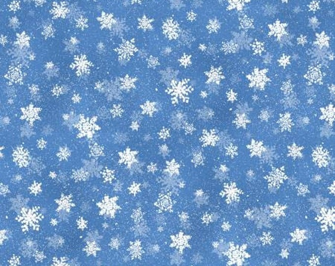 CHILDREN'S FABRIC, Quiet Bunny and Noisy Puppy Dark Blue Snowflakes Cotton Children's Fabric  by Lisa McCune for Wilmington Prints