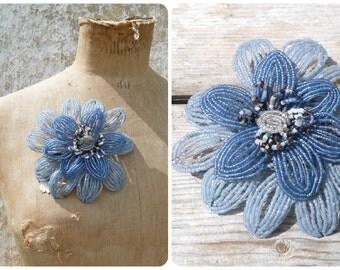 Fleur Bleue huge  Two tons of blue Art Deco  flower rearanged as brooch