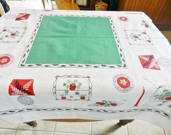 1950s Green Tablecloth,  Red Retro Tablecloth, Kitchen Tablecloth, Cottage Tablecloth, Green Retro Tablecloth
