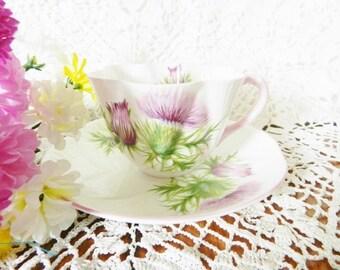 Purple Thistle Shelley Teacup,  Emblem of Scotland, Shelley Thistle, Dainty Shelley Teacup,   no S11