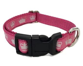 """Princess Small Dog Collar - 1/2"""" Tiny Dog Collar Pink Princess Crowns"""