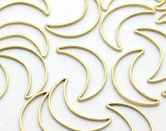 Crescent Moon Charm, 50 Raw Brass Crescent Moon Rings (16x10mm) Bs-1163