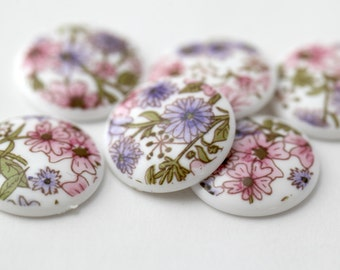 Vintage Lucite Floral Pink, Purple and White Cabochons Cabs 19mm (6)