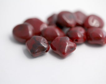 Vintage Red Wine Marbled Nugget Stone Beads 15-17mm (10)